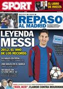 Portada diario Sport del 31 de Diciembre de 2012