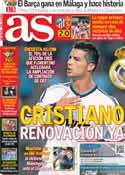 Portada diario AS del 14 de Enero de 2013