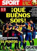 Portada diario Sport del 14 de Enero de 2013