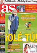 Portada diario AS del 15 de Enero de 2013