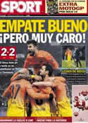 Portada diario Sport del 3 de Abril de 2013