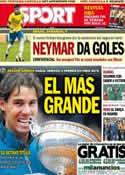 Portada diario Sport del 10 de Junio de 2013