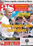 Portada diario AS del 9 de Septiembre de 2013