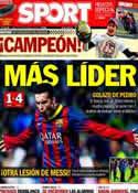 Portada diario Sport del 11 de Noviembre de 2013