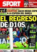 Portada diario Sport del 8 de Enero de 2014