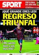 Portada diario Sport del 9 de Enero de 2014