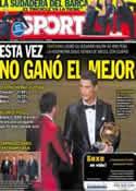 Portada diario Sport del 14 de Enero de 2014