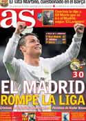 Portada diario AS del 10 de Marzo de 2014