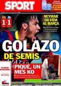 Portada diario Sport del 2 de Abril de 2014