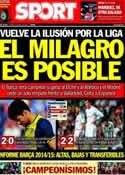 Portada diario Sport del 5 de Mayo de 2014