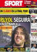 Portada diario Sport del 16 de Mayo de 2014