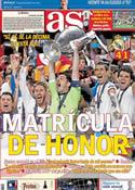 Portada diario AS del 25 de Mayo de 2014