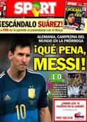 Portada diario Sport del 14 de Julio de 2014